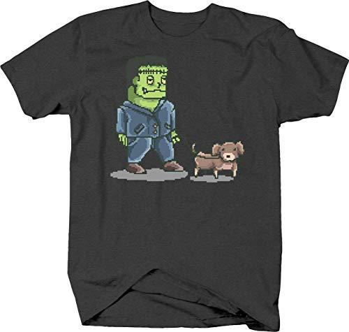 Frankenstein Walking Dog Pixel Art Horror Halloween Monster Tshirt Small Gray]()