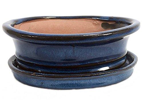 Ceramic Bonsai Planter with Saucer - Ocean Blue Oval - 8