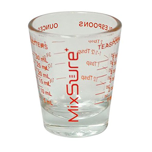 MixSure+ Mix-N-Measure Mini Measure 1 Ounce Multi-Purpose Liquid and Dry Measuring Shot Glass, Heavy Glass, 26-Incremental Measurements for Milliliters, Teaspoons, Tablespoons and Ounces