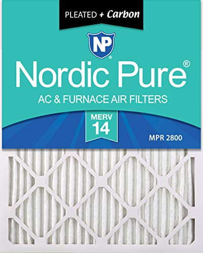 Nordic Pure 16x20x1 MERV 14 Plus Carbon Pleated AC Furnace Air Filters, 16x20x1M14+C -6, 6 Pack