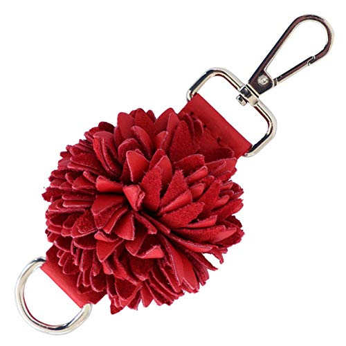 Genuine Leather Handmade Pom Pom Charms | Key Ring Keychain | for Tassel Bags Purse Backpack (Red - Pom - Key Bag Ring
