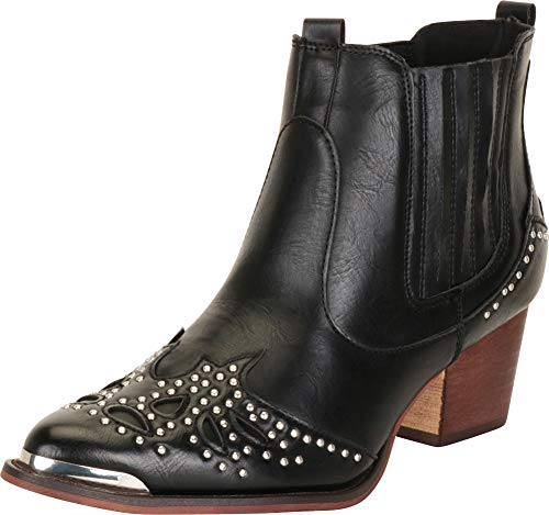 Cambridge Select Women's Western Pointed Toe Crystal Rhinestone Stacked Chunky Heel Ankle Cowboy Boot,10 B(M) US,Black PU