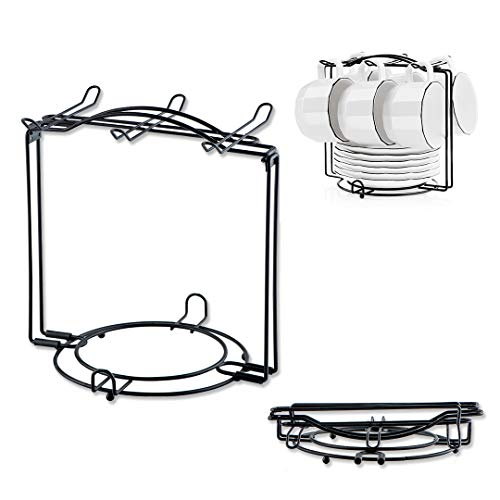 (YOLIFE Porcelain Tea Cups Display Stand, Tea Cups Rack, Can Hold Up 6 cups, 6 Saucers, 6 spoon, Can Be disassemble,Matte Black Metal Rack)