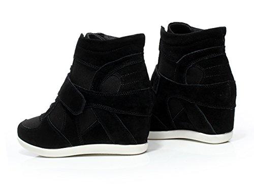 Rismart Dames Lichtgewicht Veterschoenen Met Hoge Hak Wig Hoge Hakken Mode Sneakers Zwart 8522 Us6.5
