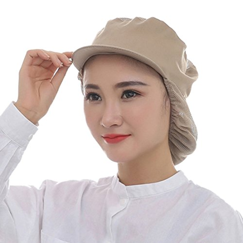 Jiyaru Mesh Women Chef Hat Catering Working Mesh Snood Hat Breathable Kitchen Cap Khaki (Womens Cap Cook)