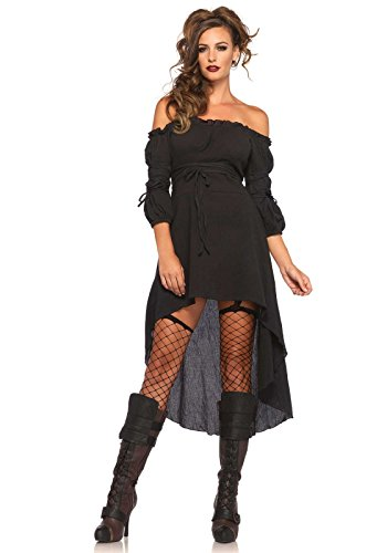 Leg Avenue Women's High Low Peasant Dress Costume, Black, Small/Medium -