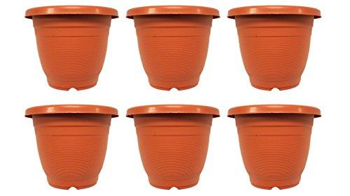 "Set of 6 Planters Brown Round 7"" x 6"" Planters / Pots (Brown) 7' Round Plastic Pot"