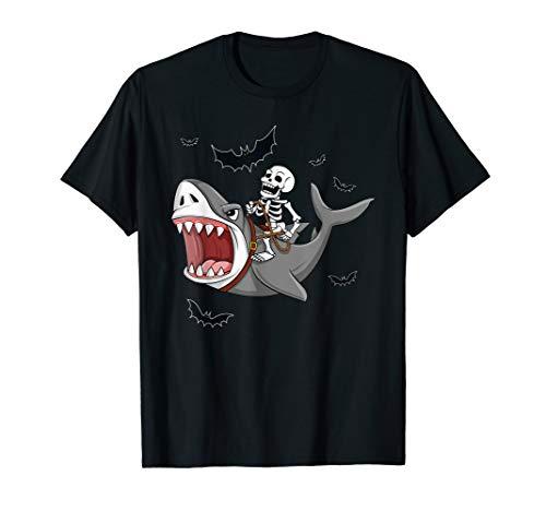 Skeleton Riding Shark Funny Halloween Boys Girls Kids T-Shirt]()