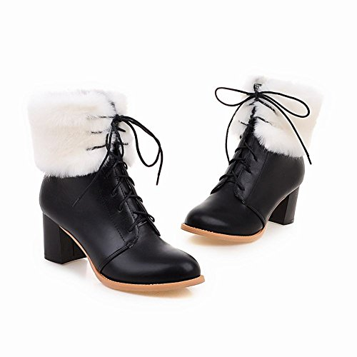 Mee Shoes Damen warm gefüttert Flaum chunky heels Schnürsenkel Stiefel Schwarz