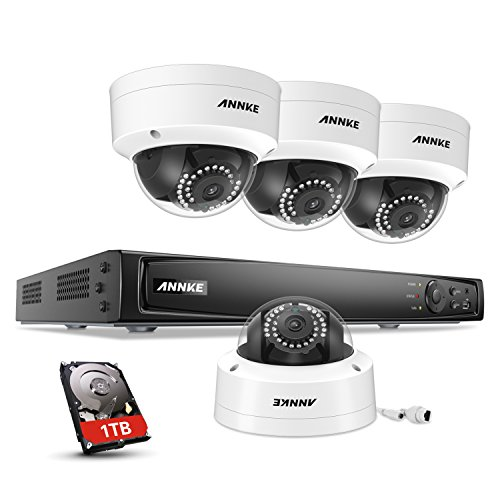 ANNKE 8CH Full 1080P Power over Ethernet Security Camera System 6.0MP NVR with 1TB Surveillance HDD and (4) 2.0MP 1920TVLOutdoor Security Cameras with Smart Search/Playback