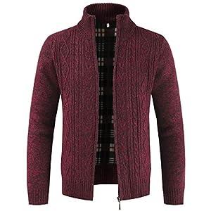 Cardigan en tricot épais avec fermeture éclair et col montant pour homme