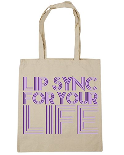 HippoWarehouse Lip sync for your life Tote Shopping Gym Beach Bag 42cm x38cm, 10 litres Natural