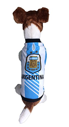 My Pet Boutique Dog Soccer Jersey Argentina (Large) -Pet T-shirt- Dog Grooming kit- makes Dog Comfortable-cozy up Costume to Celebrate Your Country Tradition-enjoy Your Football Team Passion Jersey.