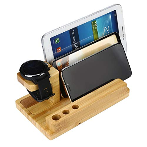 Bamboo Wood Charging Station Organizer,Cocal Stand Dock Multi Device Organizer for iPhone and Most Smartphones (A) by Cocal (Image #2)