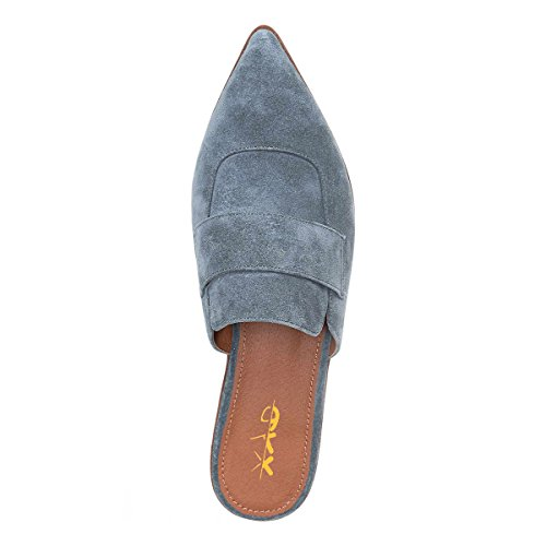 XYD Womens Retro Backless Slip On Loafers Flat Pointed Toe Mule Slipper Shoes Light Blue-faux Suede websites cheap price 4BSHo8p3eB