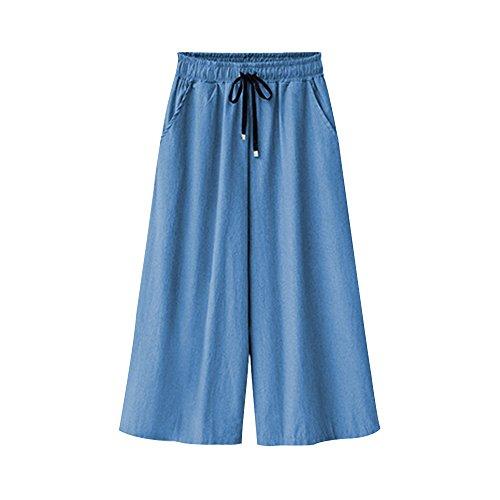 Gooket Women's Elastic Waist Denim Capris Wide Leg Cropped Drawstring Culottes Pants