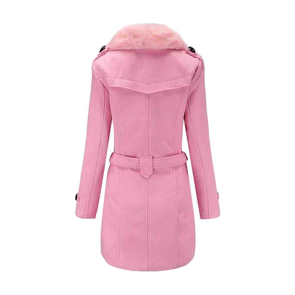 kingfansion Women Ladies Double Breasted Winter Long Coat Wool Jacket Parka