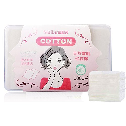 2X2 Inch 1000 Counts 100  Pure Cotton Pads In Storage Box For Applying Lotion Removing Face Makeup Eye Makeup And Nail Polish