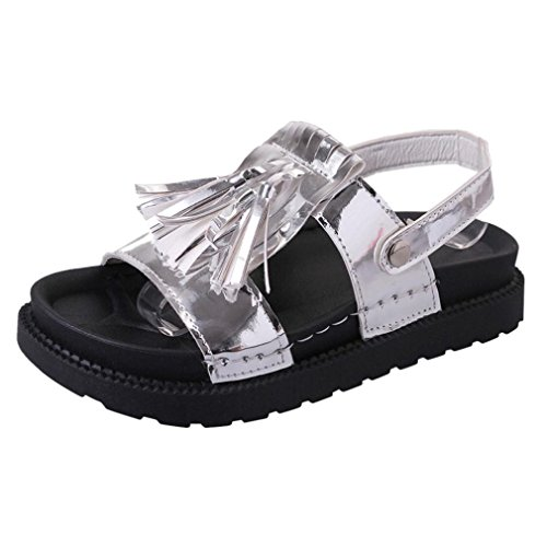 BZLine® Frauen Quaste Sandalen Casual Schuhe Leder Flat Peep Toe Student shoes Sandalen Silber
