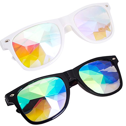 Kaleidoscope Glasses - Rainbow Rave Prism Diffraction Crystal Lens Sunglasses - B-sunglasses Cn