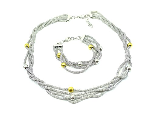 STAINLESS STEEL 316L LADIES MESH CHARM TWO-TONE NECKLACE BRACELET SET