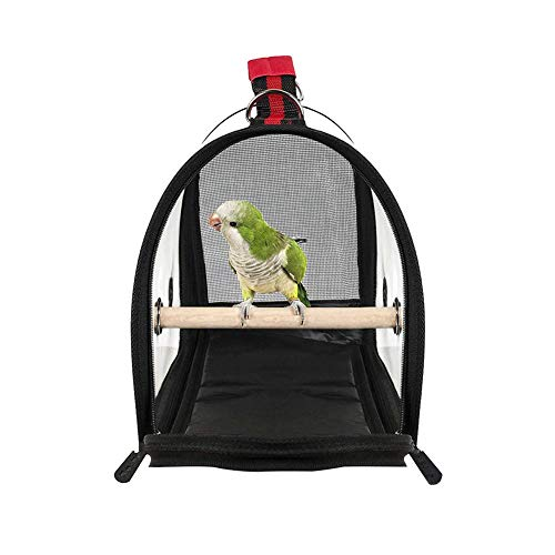 SHZONS Bird Travel Cage PVC Transparent Breathable Parrot Handbag with a Wooden Stick
