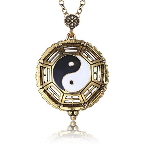 Magnifying Glass Ying and Yang Pendant Necklace Magnetic Closure Long Chain