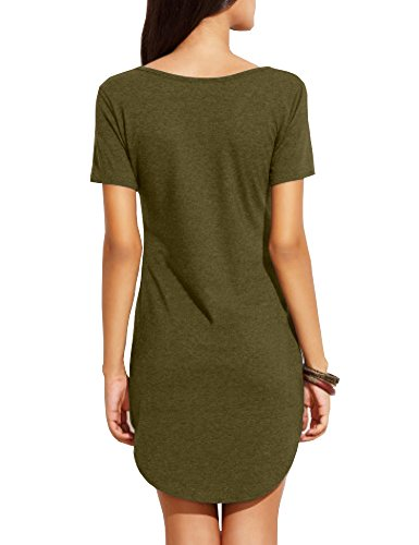 Summer Juniors Fit Slim Dress Short Mini Top Women's Haola Dresses Sleee Armygreen Shirts gw5fX