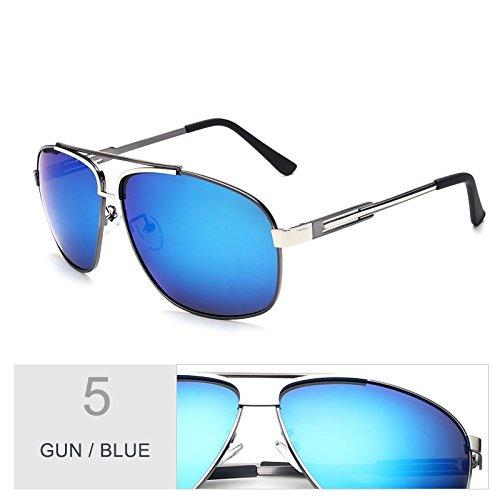 oval aviador sol hombres TL Sunglasses Blue para oscuro Verde Gun Negro Gafas de sesgada qXBCw