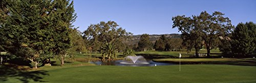 Posterazzi Fountain in a Golf Course Silverado Country Club Valley Napa County California USA Poster Print, (12 x 36)