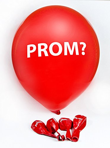 "Promposal Ideas - Go to Prom with Me Balloons - Featuring The Word ""Prom?"" - Bright Red - Makes Asking ""Will You Go to Prom with Me"" Easier - Pack of 5"