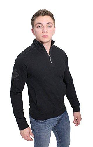 Harley-Davidson Mens Handcrafted Engines Mock Neck 1/4-Zip Fleece Black Long Sleeve Sweatshirt - Neck Zip Mock 1/4 Fleece