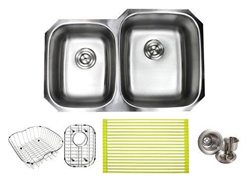 (32 Inch Stainless Steel Undermount Double Bowl 40/60 Offset Kitchen Sink - 16 Gauge Free Accessories)