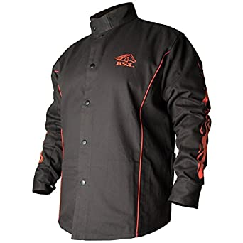 BLACK STALLION BSXu00ae FR Welding Jacket - Black W/Red Flames - MEDIUM Protective Work Jackets ...