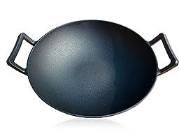 Bruntmor, Pre-Seasoned Cast Iron Wok, Black, 14-inch w/ Large Loop Handles & Flat Base