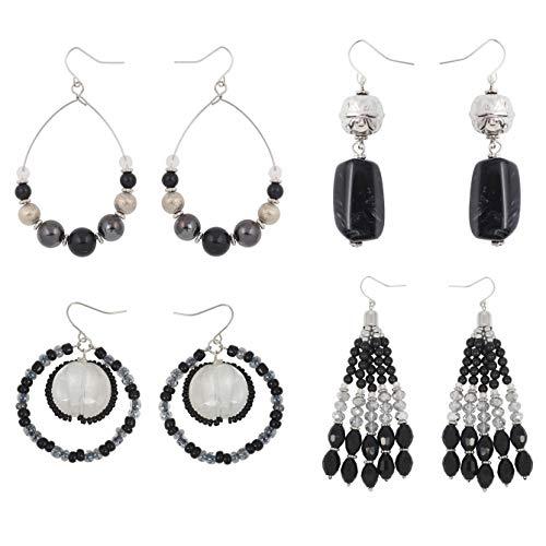 Coiris 4 Pairs Earring Set for Women Black Fringe Dangle Pendant Earrings/Hoop Beaded Earrings (ES1007-Black) - Hobe Beaded Earrings