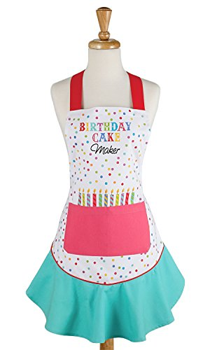 DII 100% Cotton, Holiday Women Cute Ruffle Apron, Kitchen Basic, Adjustable Neck & Waist Ties, Cooking, Baking, Crafting and More, Birthday Gift- Birthday Cake Maker