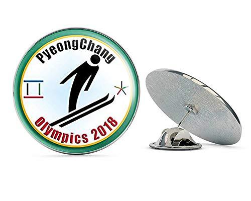 "NYC Jewelers Round PyeongChang Olympics SKI Jumping (Jumper Skiing Logo) Metal 0.75"" Lapel Hat Pin Tie Tack Pinback"