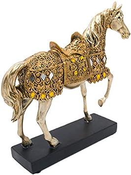 WGLG - Figura decorativa de caballo de resina dorada, diseño de caballo andante, ideal para regalar en casa, oficina, jardín