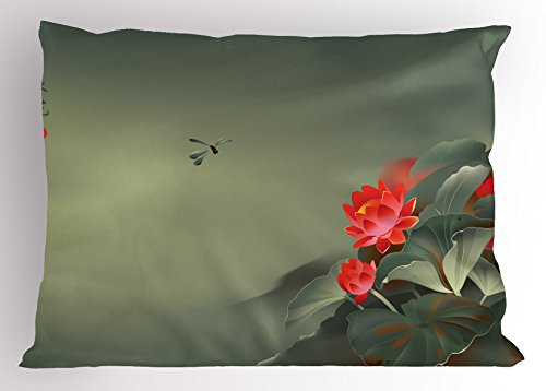 Ambesonne Dragonfly Pillow Sham, Traditional Japanese Painting with Lotus Blooms in Hazy Tones Design, Decorative Standard Size Printed Pillowcase, 26
