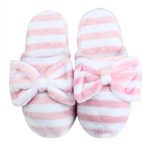 Donne Sagton Morbido Caldo Zebra Strisce Bowknot Pantofole Di Cotone Scarpe Antiscivolo Casa Coperta Rosa