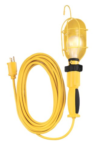 Coleman Cable 5657 14/3-Gauge Metal Work Light with Guard and Outlet, Yellow, 25-Feet