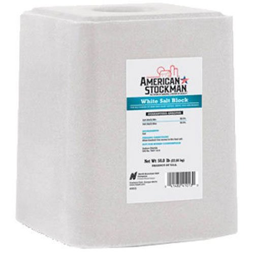 North American Salt 41013 American Stockman Plain White Salt Block Pet Supplement, 50-Pound