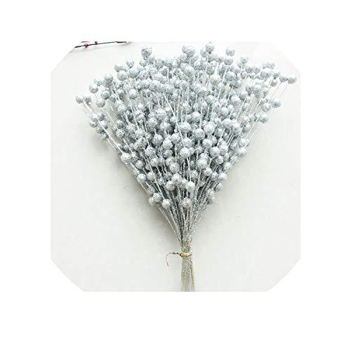 (Decorative Artificial Pistachio Fake Flower Home Party Decorative Plastic Flower,Silver)