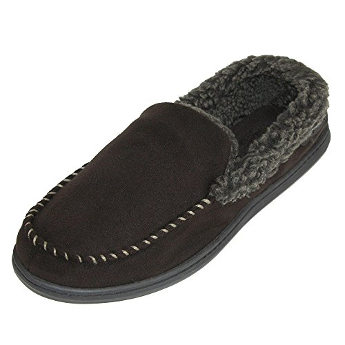 Dearfoams Men's Microfiber Suede Closed Back Moccasin Style Slipper – Padded Slip-ONS Memory Foam Insole, Can be Worn Indoors Outdoors by Dearfoams (Image #1)
