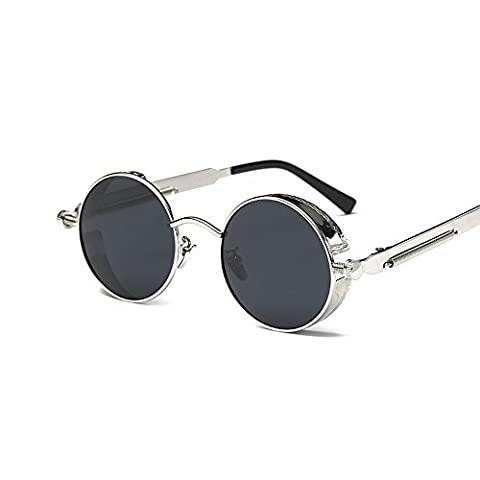 VeBrellen Men Gothic Hippie Retro Metal Round Circle Frame Cyber Goggles Polarized Steampunk Sunglasses (Silver Frame With Gray Lens,C2, - Cyber Frame