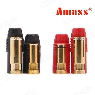 Part & Accessories 1set Amass AS150 Gold Plated Banana Plug 7mm Male/Female for High Voltage Battery Red/Black Connector Anti Spark With Resistance - (Color: 1 set)