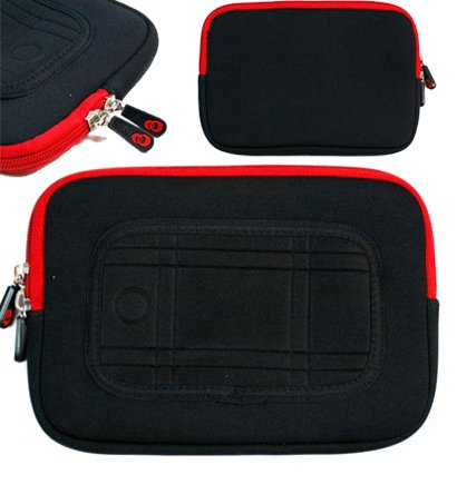 Universal Lushy padded interior Fur Sleeve for CD Player / Netbook / iReader (Black Red) (Cd Player Holster)