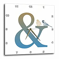 3dRose dpp_123572_1 Ampersand and with Birds Wall Clock, 10 by 10-Inch