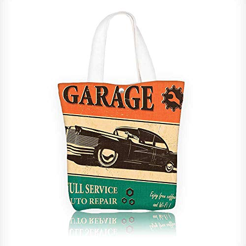 (Canvas Beach Bags GaragePoster with Classic Car Automobile Mechanic Nostalgic s Orange Jade Green Totes for Women Zippered Beach Shoulder Bag W11xH11xD3 INCH)
